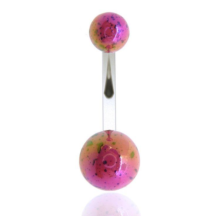 Effet brillant pour ce piercing de nombril en acrylique coloré, découvrez tous les piercing nombril sur c-bo.fr
