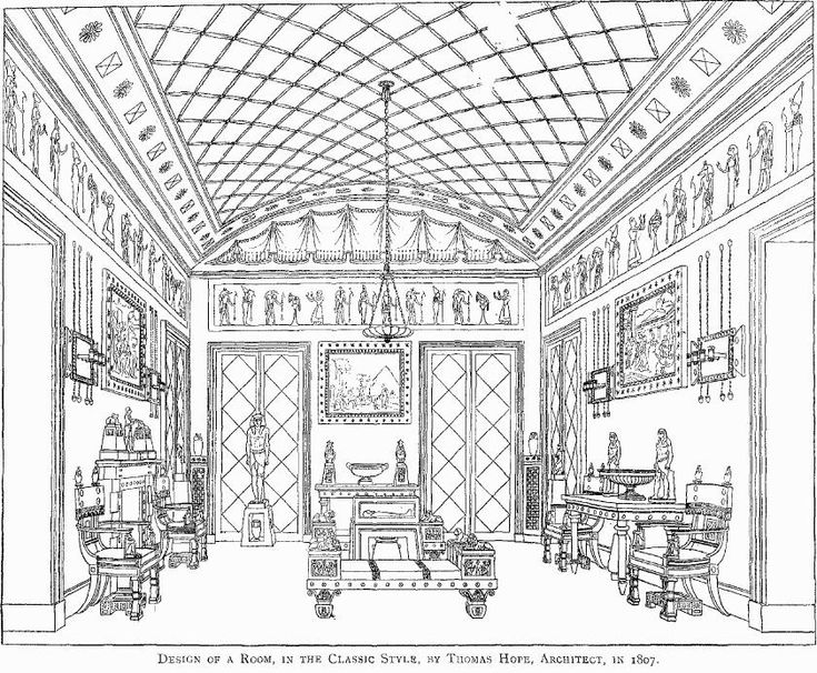 Interior design by Thomas Hope, 1807.