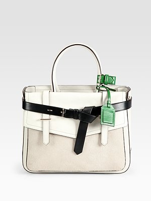 Reed Krakoff Haircalf and Leather Boxer Tote