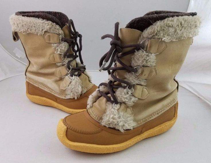 Sorel Women's Winter Boots Nanook Size 8 Lace Up Wool Insert Faux Fur Gum Soles #Sorel #SnowWinterBoots #OutdoorColdWeatherWinterExtremeConditions