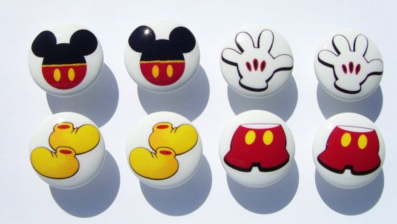8 set Mickey Mouse Pants shoes ears gloves kids boys girls baby mtm bedding  Dresser Drawer knobs