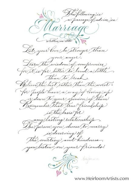 Fine art print makes a lovely wedding or anniversary with wisdom from the past. In various sizes. Marriage 1886.
