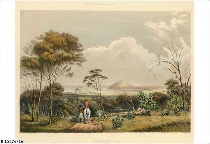 Plate 16: Landscape view of Encounter Bay, featuring the bluff. Part of the text accompanying the illustration reads 'The view ... is taken from the road leading to Mr Strangway's station; looking southwards over Victor Harbour, towards Granite Island, and Wright Island, with the conical bluff of Rosetta Head stretching out to the west'.