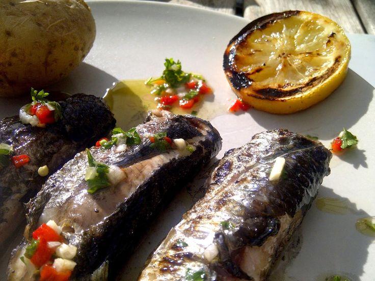 Al fresco, gegrilde sardines van oesters en uien. - Gereons Keuken Thuis