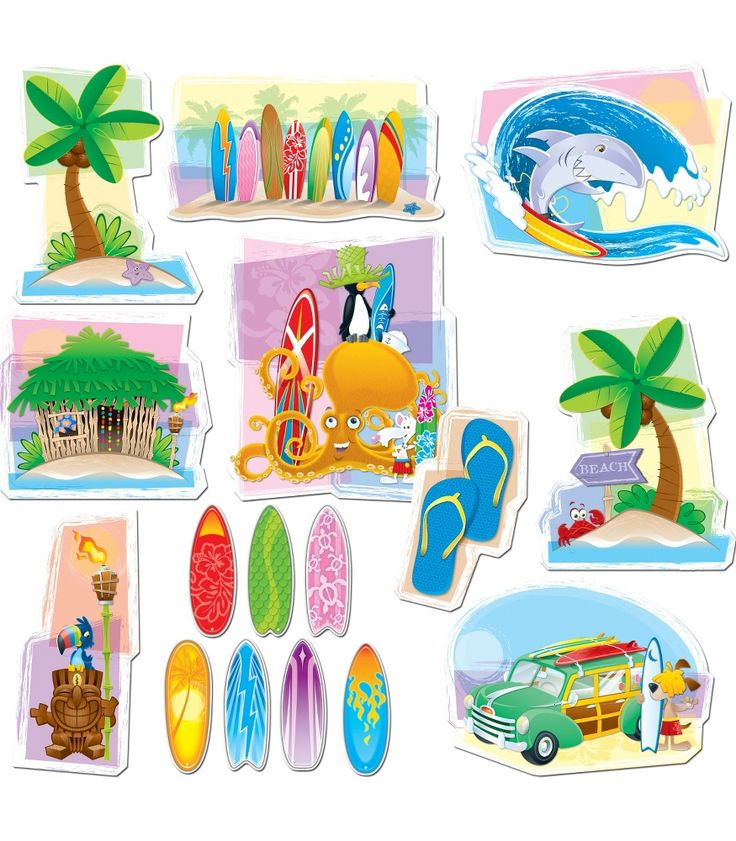 """Cowabunga! This colorful, surfing-themed bulletin board set includes:  A woody wagon (15.75"""" x 11.5"""") Surfboard beach (16.25"""" x 8.5"""") Surf buddies Assorted accents: a shark surfer, 2 islands, a hut, a tiki man with a torch, a pair of flip-flops 30 student surfboards A resource guide"""