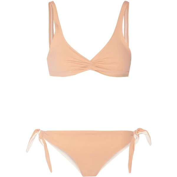 Solid and Striped The Jane triangle bikini top ($43) ❤ liked on Polyvore featuring swimwear, bikinis, bikini tops, neutral, swimsuit tops, triangle swimwear, triangle swim top, stripe bikini and triangle swim wear