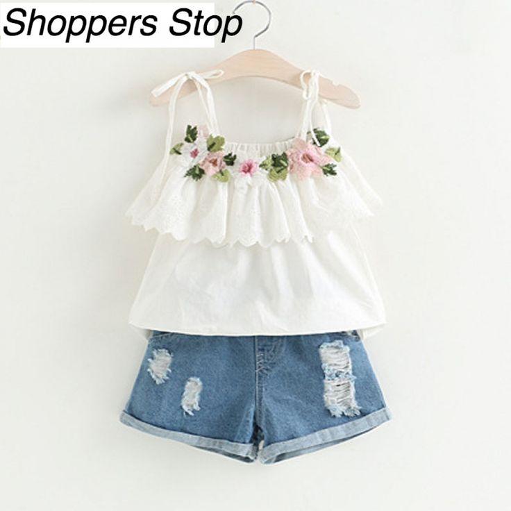 White Jacket with Flower Decoration+Denim Shorts for Girls