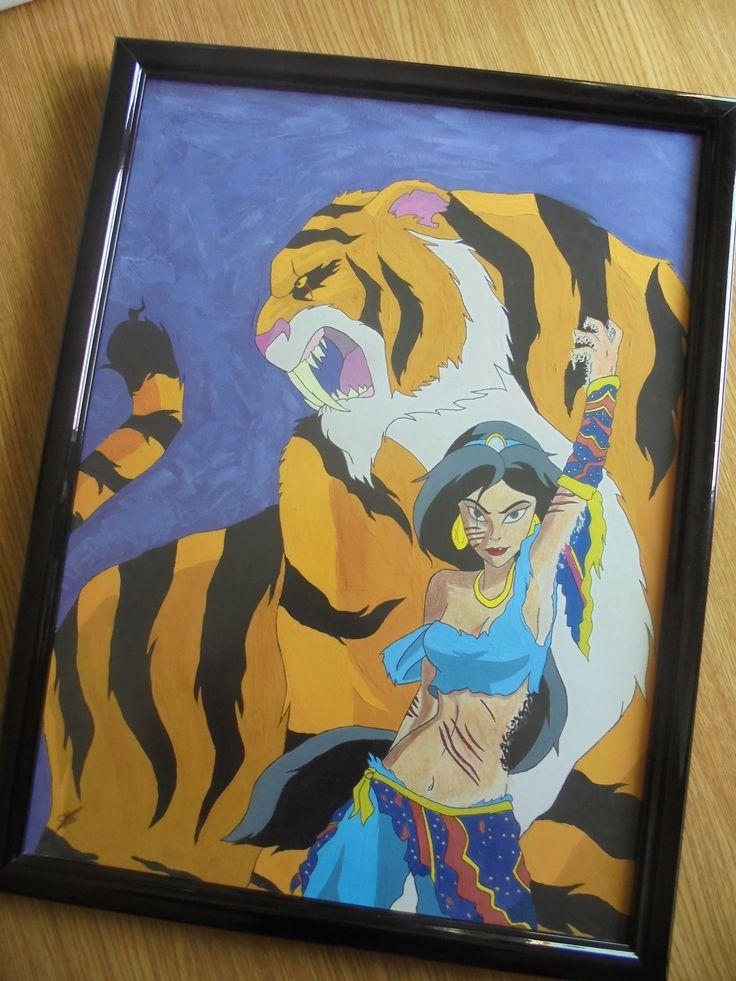 Dibujo Yasmin y Rajah Disney. Gouache/tempera