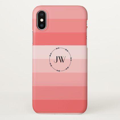 Monogram Coral Pink Pastel Stripes iPhone X Case - monogram gifts unique design style monogrammed diy cyo customize