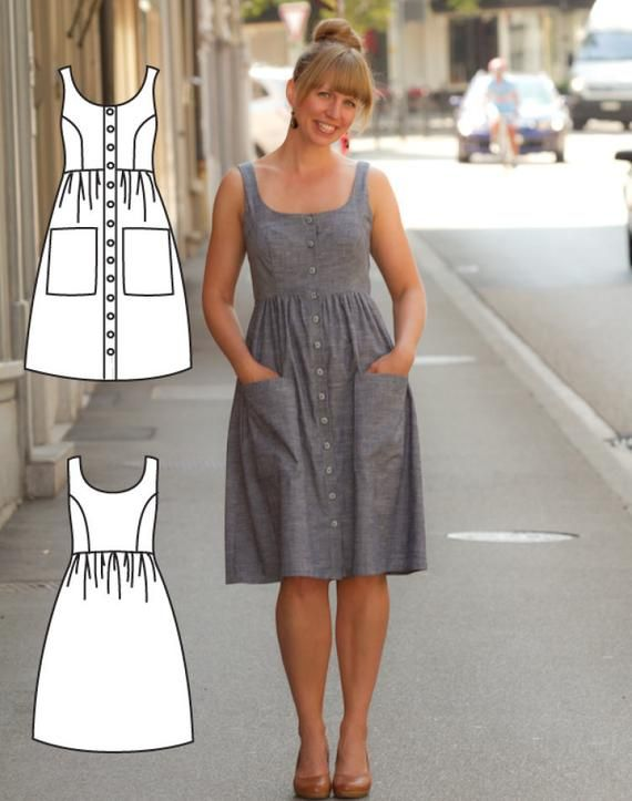 Button Down Dress Pattern – Midi Dress Pattern – Midi Dress Sewing Pattern – Mid…