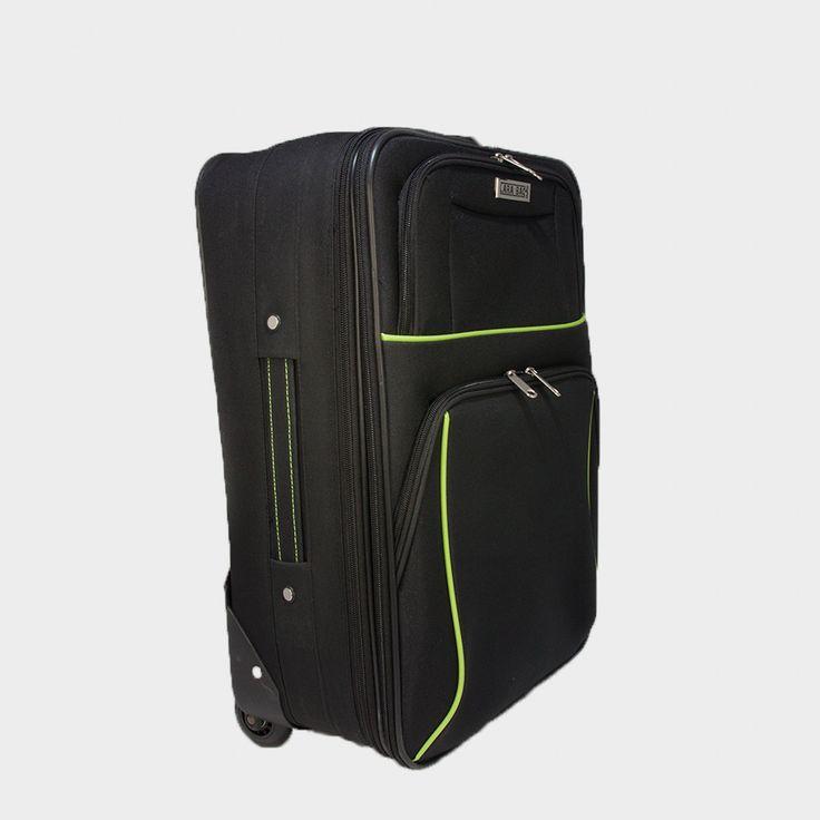 Látkový kufor na kolieskach v čiernej farbe so zeleným lemom