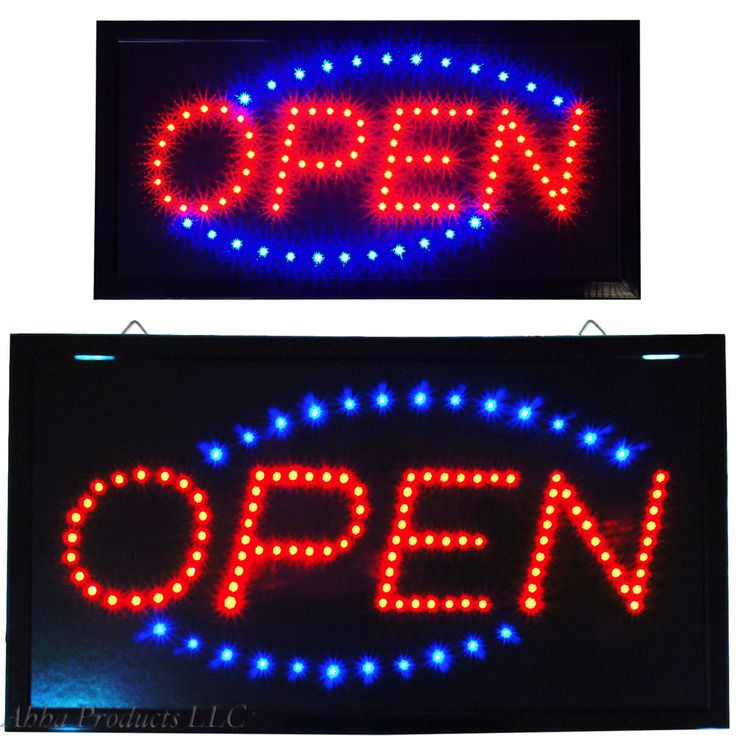 "Large 24x13"" Bright LED OPEN Business Store & 19x10"" Open Shop Motion Sign…"