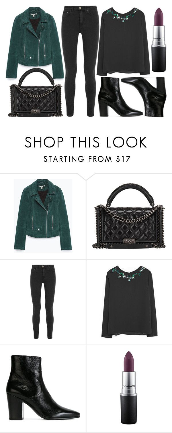 """""""street style"""" by sisaez ❤ liked on Polyvore featuring Zara, Chanel, Acne Studios, MANGO, Yves Saint Laurent, MAC Cosmetics, women's clothing, women's fashion, women and female"""