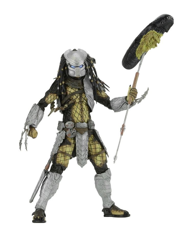 "NECA Predator - 7"" Scale Action Figure - Series 17 AvP Youngblood Action Figure. Youngblood Predator is based on the 2004 film Alien vs Predator. Youngblood Predator features dual wrist blades that are interchangeable with other NECA Alien vs Predator figures. Accessories included: staff with impaled Xenomorph head. Each figure stands about 8.25 inches tall with over 30 points of articulation."