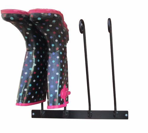 Wrought Iron Style Wall Mounted Wellington Boot Rack - 2 Pairs