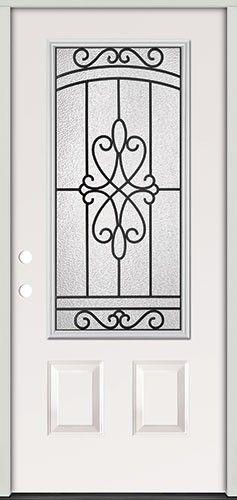 Interior Iron Grill 3/4 Lite Steel Prehung Exterior Door Unit #273