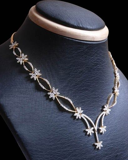 Simple Diamond Necklace Designs   Indian Simple and stylish Diamond Necklaces