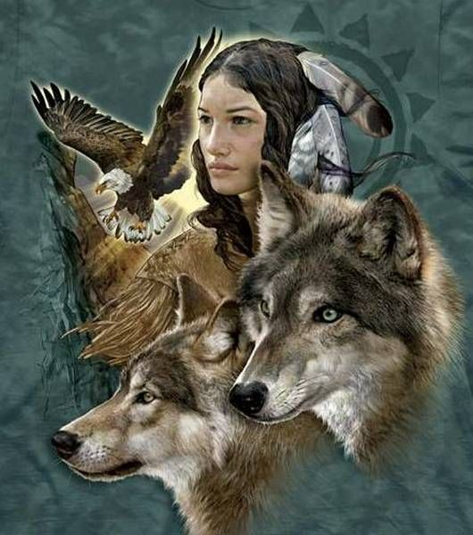 The Mountain Native American T-shirt | Wolf Spirit Maiden, Native American T-shirts by The Mountain, 103389