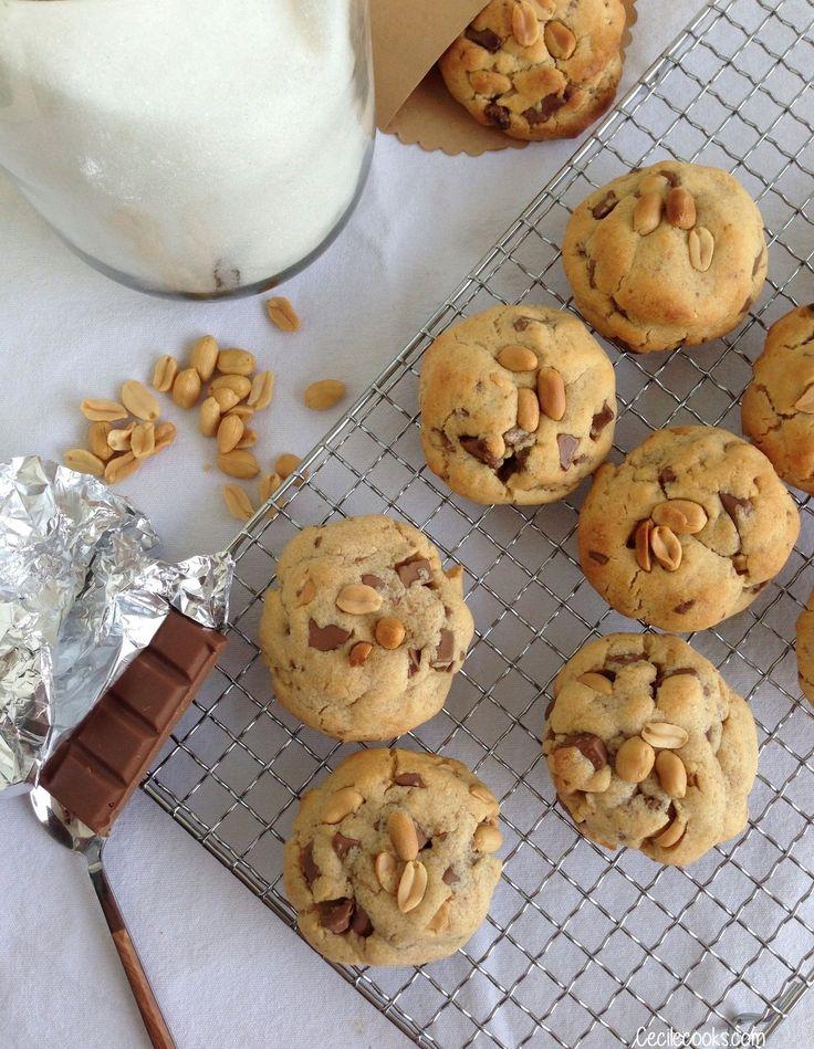 Cookies au beurre de cacahuètes et chocolat au lait - Cecilecooks