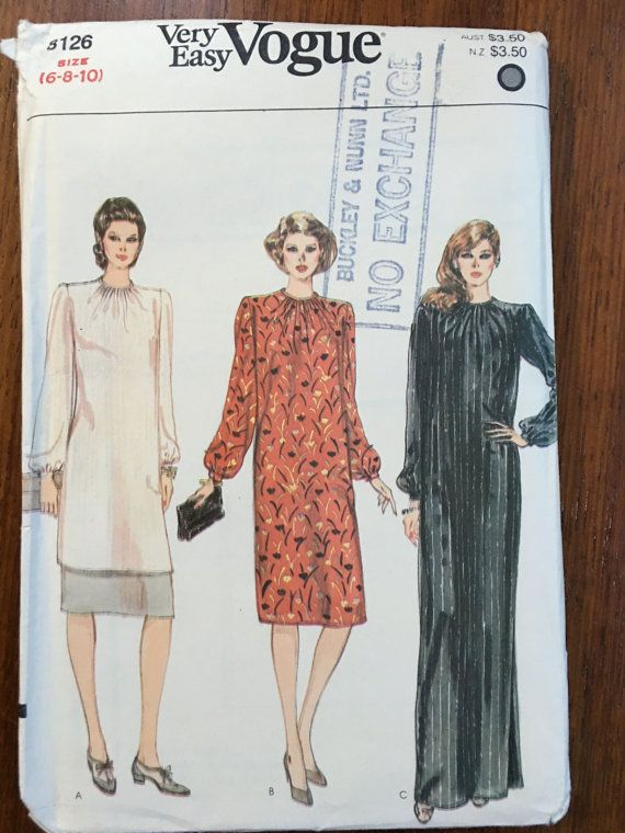 Very Easy Vogue 8126 Misses' Tunic, Skirt / Dress Bust 30.5, 31.5, 32.5 Size 6 8 10 Gathered neckline shoulder pads skirt tunic formal gown 1980s shoulder pads, power dressing,  Etsy weseatree patterns 1980s