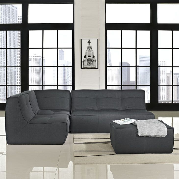 Align 4 Piece Sectional Sofa Set in Charcoal, Charcoal - There are sectional sets that claim to be modern by portraying some enlightened path forward. But for every one of these efforts, is an equal and opposite reaction. The more we use our own guile to paddle forward, the more the stream of present reality seems to rush against us. Align was designed as an attempt to wash away those hindrances that obstruct growth. If there had been a choice, the designers would have kept Align just that…