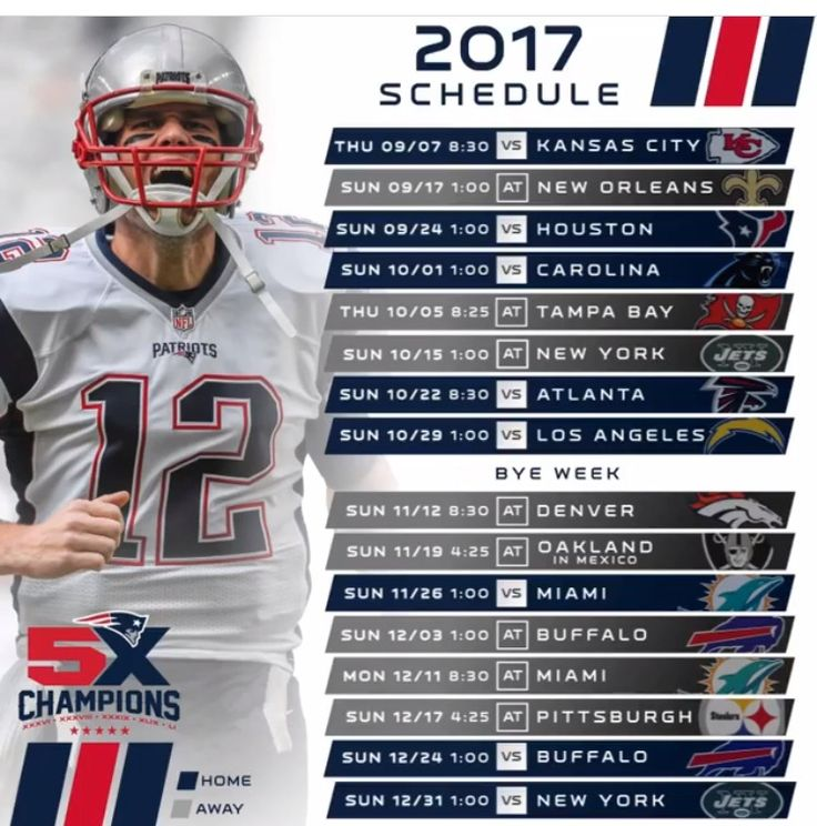 NEPats Schedule for 2017 #Onto2017 #SBChamps #LetsGo