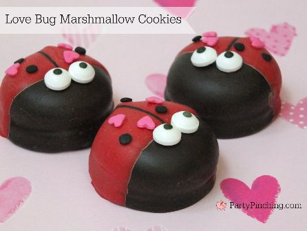 Love Bug Cookies, easy Valentine's Day cookies, cute Valentine's Day desserts for kids, Mallomar Valentines' Day cookies