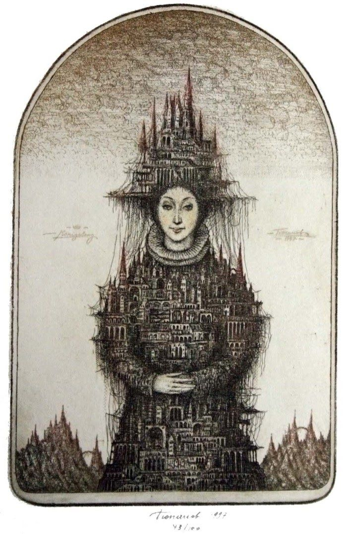 """Very Dali like in his approach - beautiful  Etchings of Floating Cities by Sergey Tyukanov  """"Woman City"""""""
