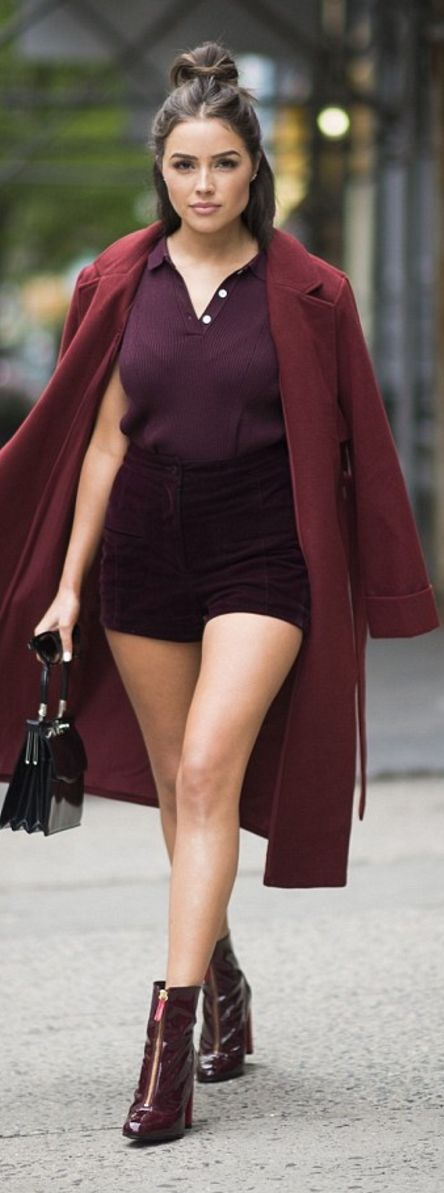 Olivia Culpo: Coat, shirt, and shorts – Mannin Cartell  shoes – Kurt Geiger  Purse – Rodo
