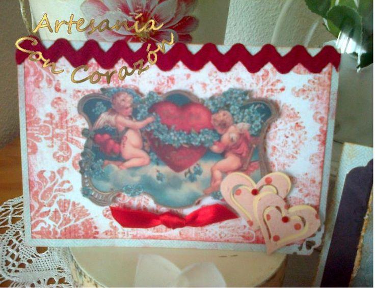Tarjeta san valentín. artesaniaconcorazon.blogspot.com