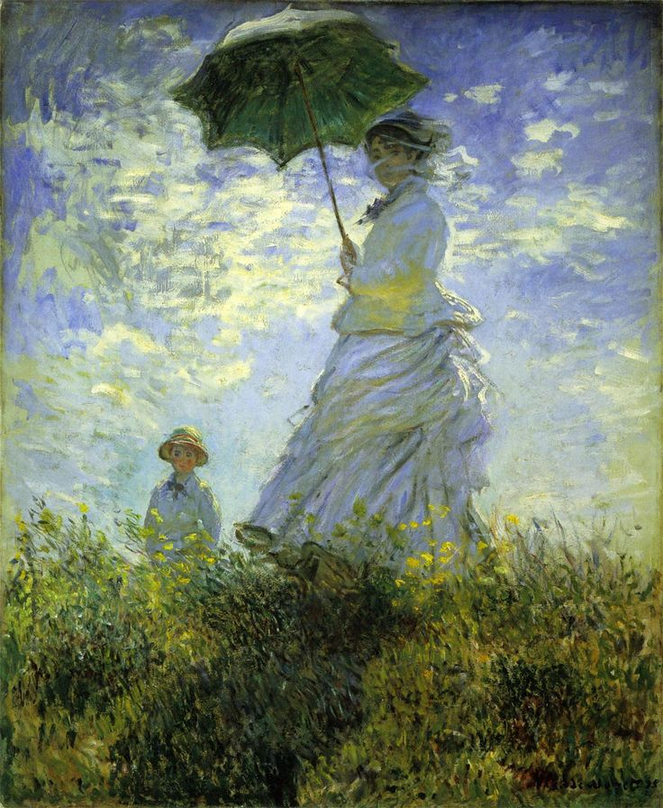 Claude Monet - 1875: La Promenade / Madame Camille Monet and her son Jean. 100×81cm, National Gallery of Art, Washington DC