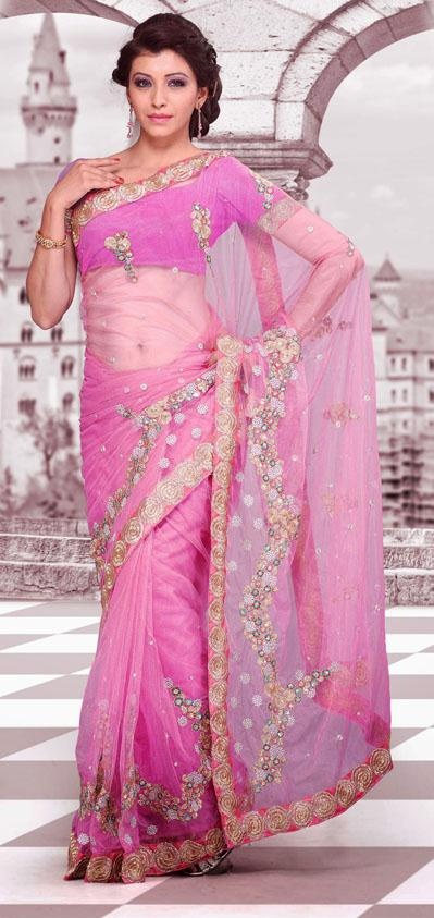 $58.38 Pink Net Embroidered Party Wear Saree 24234
