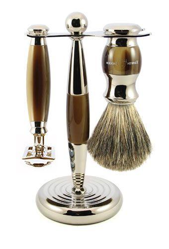 Edwin Jagger Shaving Set - DE Razor, Pure Badger Shave Brush, Stand - Faux Horn 300 Series