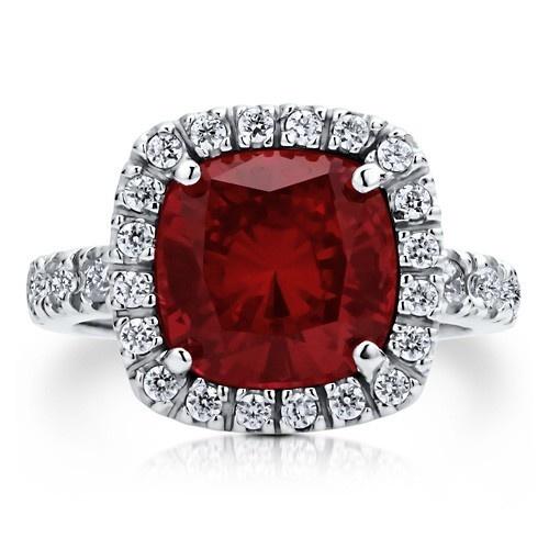 """Коктейльное кольцо на правую руку """"Рубин"""" из стерлингового серебра с цирконом CZ огранки """"подушка"""" UAH 663.43"""