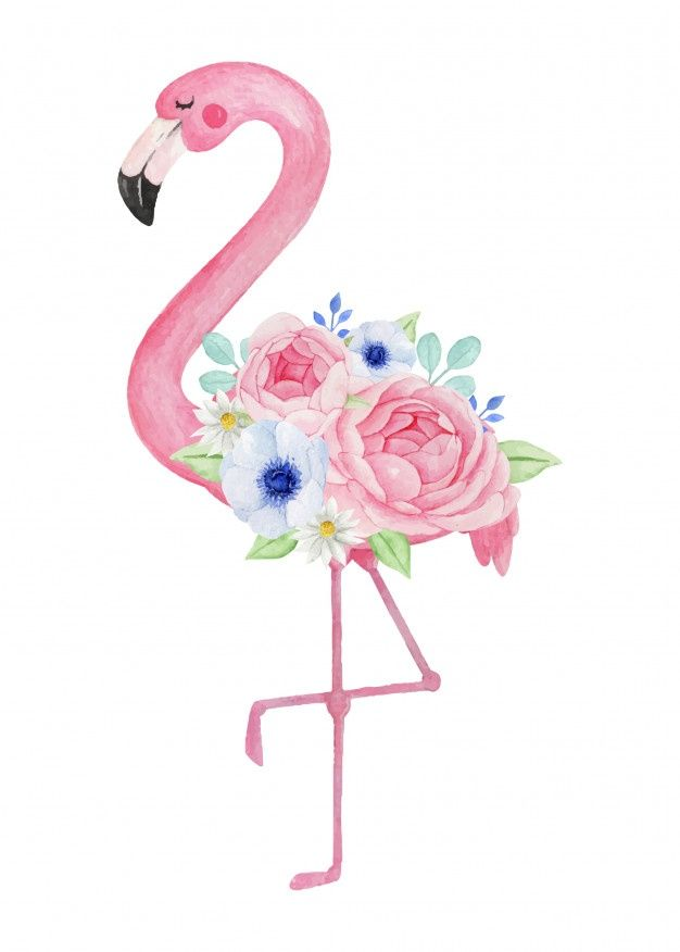 Lovely Flamingo With Beautiful Flower Bouquet Watercolor Illustration In 2020 Flamingo Illustration Beautiful Bouquet Of Flowers Flamingo