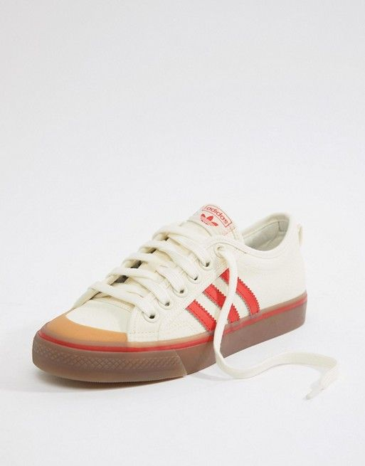 timeless design 1839f dbe7e adidas Originals Nizza Canvas Sneakers In White And Red in 2019   SHOES    Canvas sneakers, Adidas sneakers, Shoes