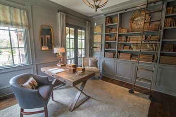 Walls are Benjamin Moore HC168 Chelsea Gray (semi gloss because it is paneling)  Ceiling is Ben Moore HC172 Revere Pewter
