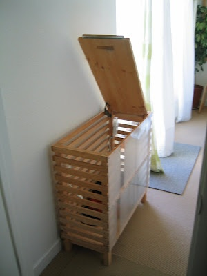 IKEA Hackers: how's this for a big capacity laundry bin? I could also make something like this very easy. That way I can use wasted space in my bathroom wisely.