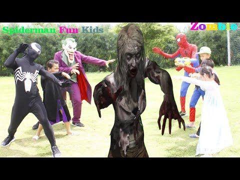Frozen Elsa & Spiderman Vs Zombie SAW Attack W/ Joker & Venom Zombies Fu...