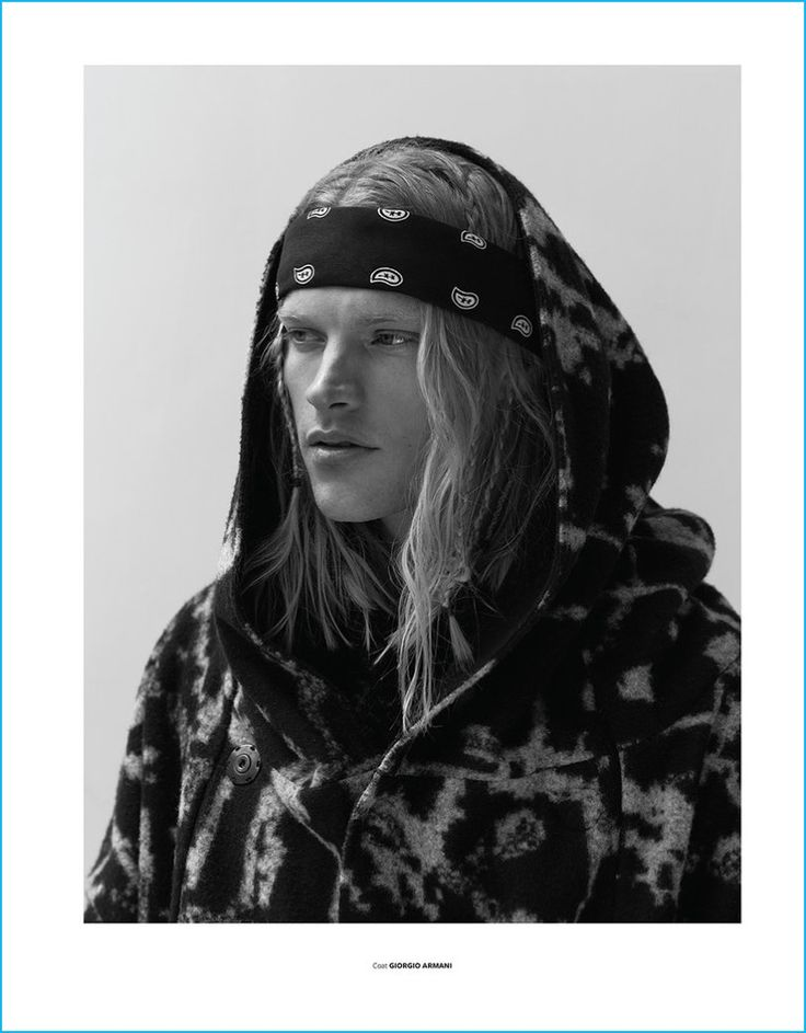 Carlton Ruth wears a graphic coat from Giorgio Armani for At Large magazine.
