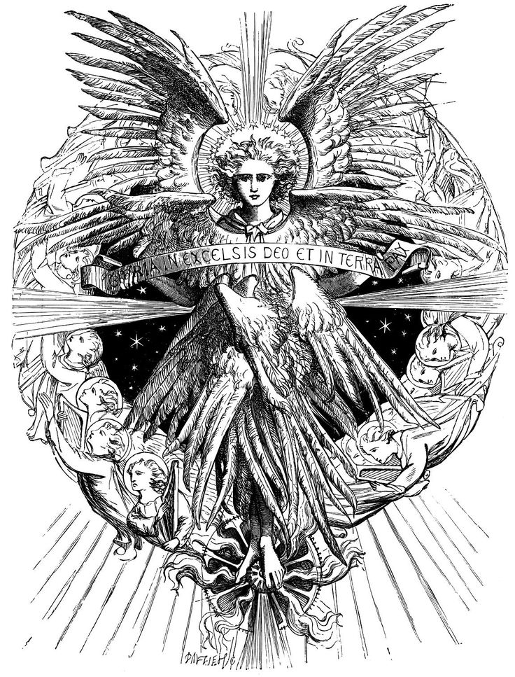 """Angel with the words """"Gloria in Excelsis Deo et in terra pax"""" by Dalziel Brothers"""