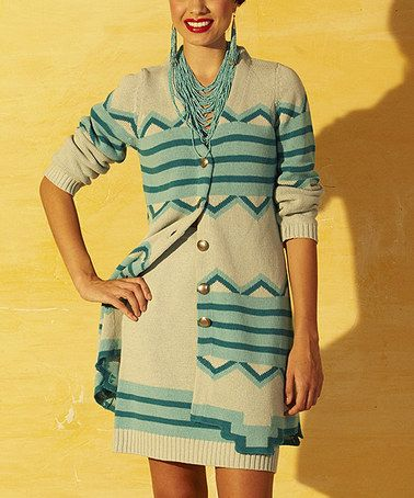 Another great find on #zulily! Turquoise & Cream Southwestern Duster - Women by Roja #zulilyfinds