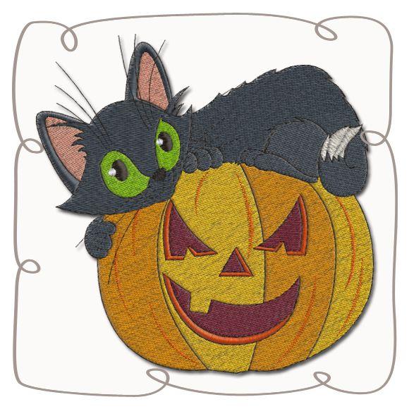 Cat on Pumpkin Machine Embroidery Design Pattern-INSTANT DOWNLOAD