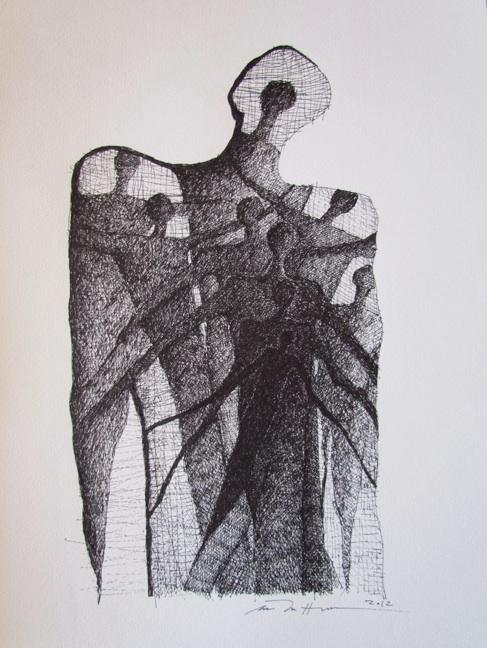 Åse Margrethe Hansen/The We of Me. Ink drawing, 2012