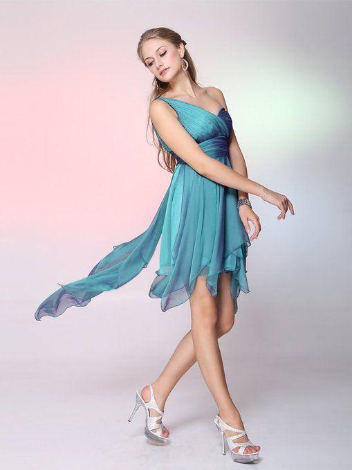 Ever Pretty Single Shoulder Padded Empire Waist High Low Bridesmaid Dress