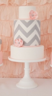 Pink & Grey Chevron bridal shower cake by Sweetcheeks Cookies & Cakes