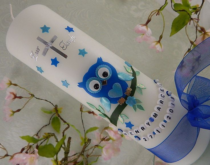 Taufkerze Junge Eule blau mit Sternen und Namenskette