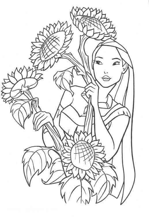 The Princess Pocahontas Among Sunflowers Coloring Page