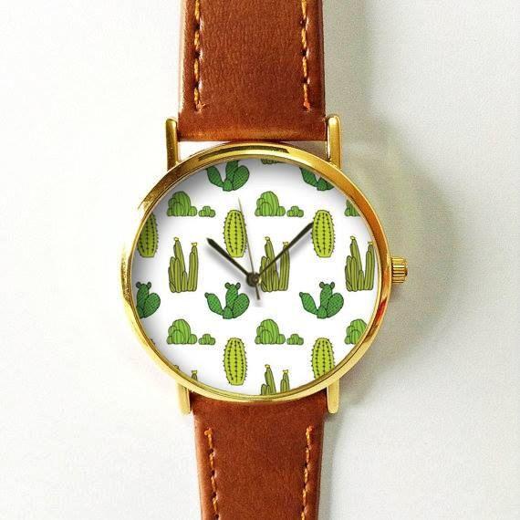 Cactus Plant Collection Watch 2, regarder le cuir Style Vintage, montres femmes, copain Watch, homme montre, été vert jaune, succulentes