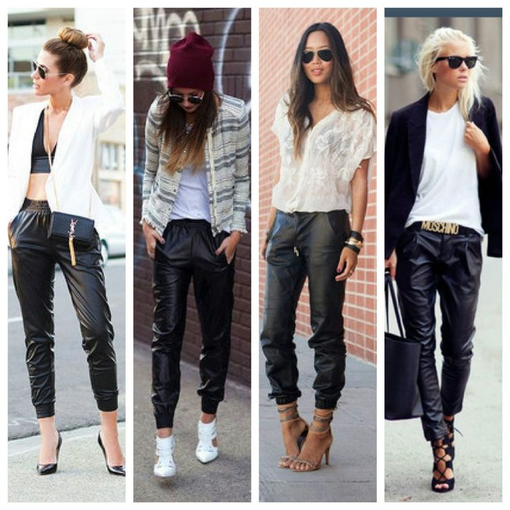 She's Bad Faux Leather Jogger Pants